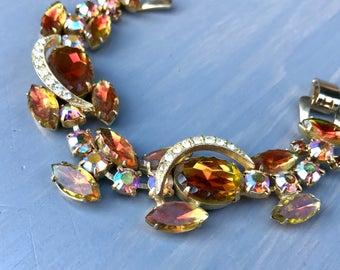 Vintage Juliana Bracelet Heliotrope Rhinestone DE Delizza Elster Jewelry