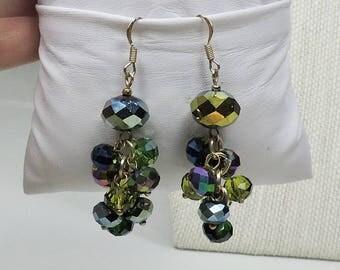 Handmade Green Crystal Pierced Earrings,  Vintage beads
