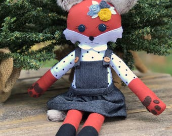 Woodland Fox Doll, Schoolgirl Doll, Handmade. girl doll, flower crown