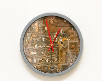 Unique Wall clock - recycled Computer clock, red circuit board, repurposed, techie home - ready to ship c5995