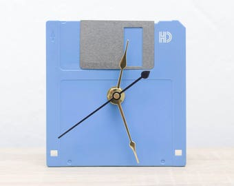 Unique Desk clock - blue recycled floppy disk clock, ready to ship c8206