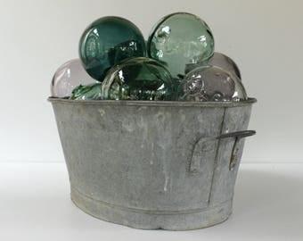 French Vintage Oval Zinc Tub....Galvanized Bath Tub...Planter....Home Storage Solutions.