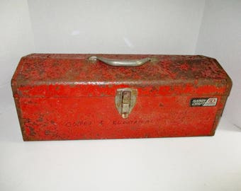 Vintage Red Tool Box Atkinson Handi Craft Metal Industrial Chippy Rusty Made in USA