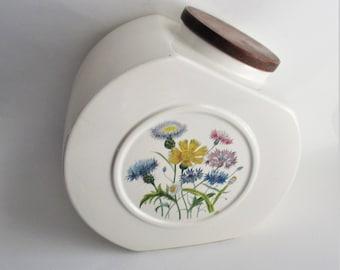 Vintage Cookie Jar Hyalyn Pottery Wildflower Porcelain Jar 1970's Kitchen Storage