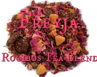 Freyja Rooibos Tea Blend - loose leaf rooibos tea, rose tea, caramel tea, vanilla, cherries, Norse mythology, Norse goddess, Vikings
