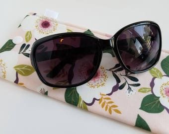 Padded Sunglass Case with Snap- Florals on pink