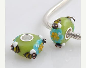 1 Bead- Bee Flower Insect Animal Sterling Silver Core .925 European Bead Charm GJ2084 LC0002
