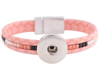 "1 Pink Leather Bracelet - 6.75"" FITS 18MM Candy Snap Charm Jewelry Silver KC0035 CJ0813"