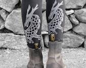 Printed Leggings | Dragon Leggings | Organic Cotton Leggings | Black Yoga Leggings | Dragon Yoga Pants | Made in USA | Wide Waistband