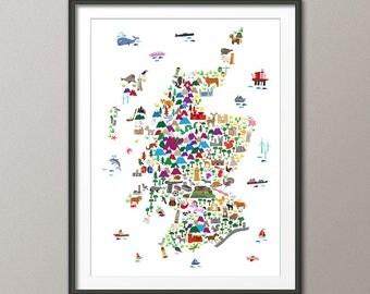 Scotland Animal Map for children and kids, Scotland Map, Art Print (2849)