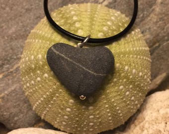 Beach stone jewelry- Heart stone necklace