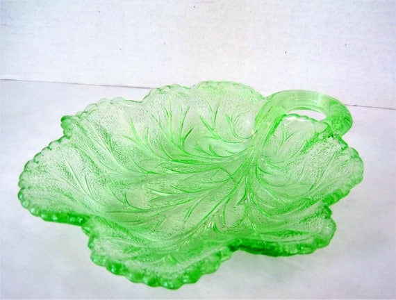 Green Depression Glass - Leaf Shape -  Candy Dish - Curved Stem Handle - Collecti ble Glass