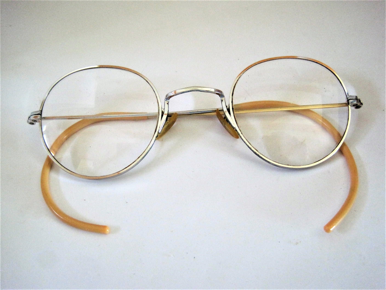 40\'s Eyeglasses, Wire Rimmed Glasses, Round Frames, Shuron Signed ...