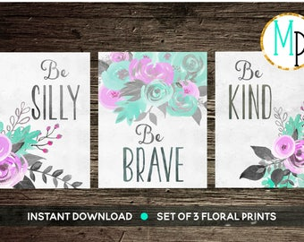 Nursery Wall Art Nursery PRINTABLE Art Baby girl Nursery Decor purple mint floral Nursery Set of 3 prints Nursery bouquet girls room baby