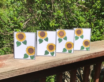 Sunflower Note Card Set, Sunflowers Paper Handmade Cards, Blank Cards, Gift For Her, Gift for Friend, Colorful Note Card Set, Gift Mom Gift