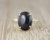 ON SALE Oval Australian Black Opal Ring - Solid Yellow 10kt Gold