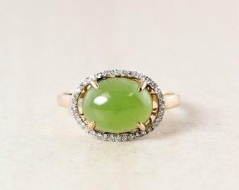 FLASH SALE Siberian Nephrite Jade Ring – White Diamond Halo Setting -Engagement Ring
