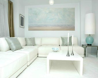 """Art, Seascape Painting,Large Original Abstract, Acrylic Paintings on Canvas by Ora Birenbaum Titled: Soft Clouds 13 24x48x1.5"""""""