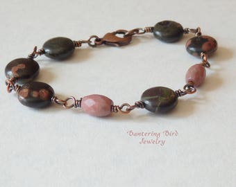Black and Dusty Rose Pink Beaded Bracelet, Rosary Wrapped Links, Plum Blossom Jasper and Rhodonite Natural Stone, Summer Copper Jewelry