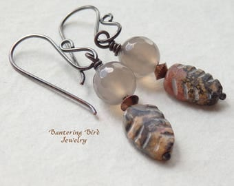 Carved Stone Leaf Earrings, Grey Agate with Ocean Jasper Leaves, Small Everyday Earrings, Earthy Copper Jewelry