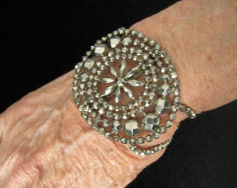 """OOAK Bracelet made with Antique French Steel Cut Shoe Buckle, Vintage Charm, Chain, Clasp. Strands of Silver Glass Faceted Beads. 7-7.5"""" L."""