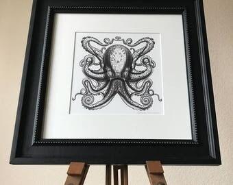 Octopus Art, Octopus Print, Octopus Gift For Him, Black Octopus, Bathroom Art