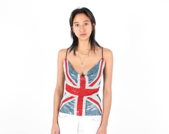 90s CHAIN MAIL Union Jack GLOMESH / Chainmail Metal Mesh Club Kid Backless 70s Style Disco Top