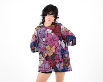 80s Heavily Sequinned RAINBOW Psychedelic Floral BLOOM Flower Sequin Loose / Free Size Mini Dress