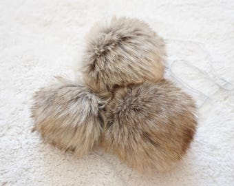 Faux Fur Pompom in Beige/Grey with Brown Ends, handmade hat accessory,Fur Pompoms. Faux Fur. Fur Pompoms Fur Pom Pom Pompoms Faux Detachable