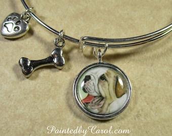 English Bulldog Bracelet, English Bulldog Bangle, English Bulldog Expand It, English Bulldog Jewelry, Bulldog Gifts, Bulldog Mom Gifts.