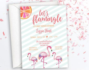 Flamingle Baby Shower Invitation, Flamingo Baby Shower Invitation, Unique Shower Invite