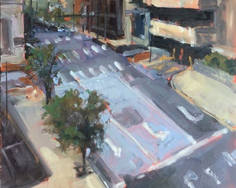 ORIGINAL Oil Painting-Plein Air-Urban Landscape-American Cityscape-Affordable art-Impressionist-Contemporary decor-City Street-Modern Art