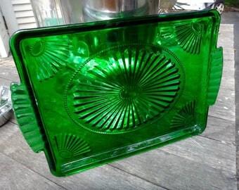 Tray, Green Tray, Green Glass, Art Deco, Perfume Tray, Dresser Decor, Serving Tray, Emerald Green, Pressed Glass, Vanity, Green Glass Tray