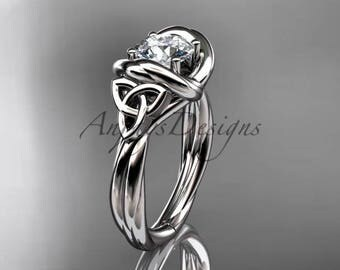 """Platinum trinity celtic twisted rope wedding ring with a """"Forever One"""" Moissanite center stone RPCT9146"""