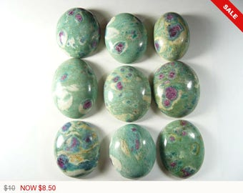 Ruby and Fuchsite Designer Cabochons, Gemstone cabochons, 8-14 mm thick, med to high dome, natural (rf420171)