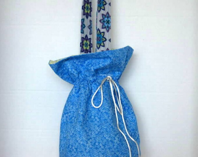 Blue Festive Knittingng Crochet Drawstring Hobo Bag with Handle, Tarot Card Pouch, Fabric Makeup Bag