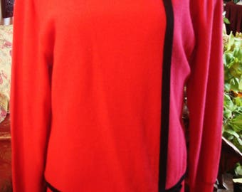 Vintage 1970s Pink and Orange Dress with Pearl Brooch