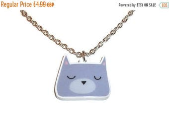Sleepy Cat Necklace Adorable Quirky Laser Cut Pendant Kitsch Animal Jewelry Cute Kitten Face Kitty