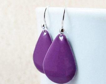 40% OFF Dangle Drop Earrings - Grape Purple Epoxy Enamel Teardrops - Sterling Silver Plated over Brass (F-5)