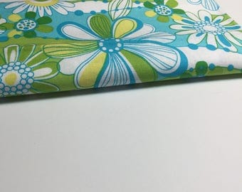 Green and Blue Retro Floral Fabric