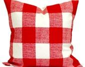 OUTDOOR Buffalo Check Pillow Covers, Outdoor Plaid Pillows. Red Check Pillow, Red Outdoor Pillow,  Farmhouse Pillow.cm. All Sizes.cm
