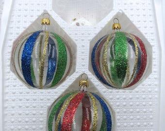 Vintage Three (3) Hand Blown Kurt Adler Glass Glitter Christmas Ornaments, Vintage Kurt Adler Christmas Ornaments, Vintage Glass Ornaments,