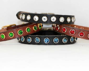 "Design Your Own Small Leather Dog Collar with Large  Swarovski Crystals / Chihuahua Yorkie Dog Collar / 1/2"" Dog Collar"