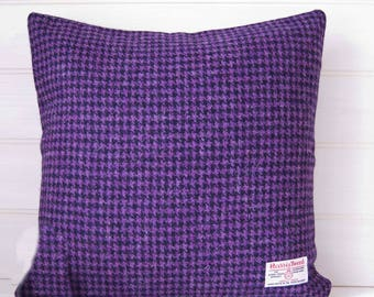 Purple Harris Tweed Cushion Cover  - Houndstooth --  Size 16ins - 40cm - Made in the UK