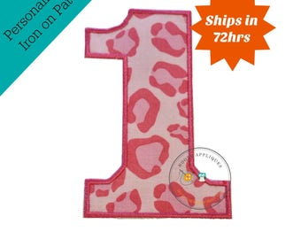 Large pink cheetah print number 1- iron embroidered fabric applique patch embellishment- ready to ship