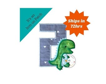 ON SALE NOW Dinosaur birthday number two machine embroidered patch, fast shipping iron on Dino birthday applique, green and gray number 2