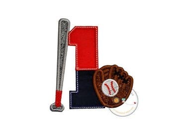 ON SALE NOW Two tone baseball theme birthday number 1 iron on applique, Embroidered fabric iron on baseball birthday patch, sport birthday n