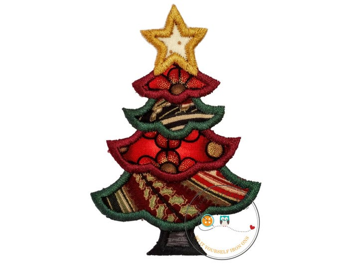 Little angelic Christmas tree with gold star- iron on embroidered fabric applique patch, Christmas iron on applique, ready to ship