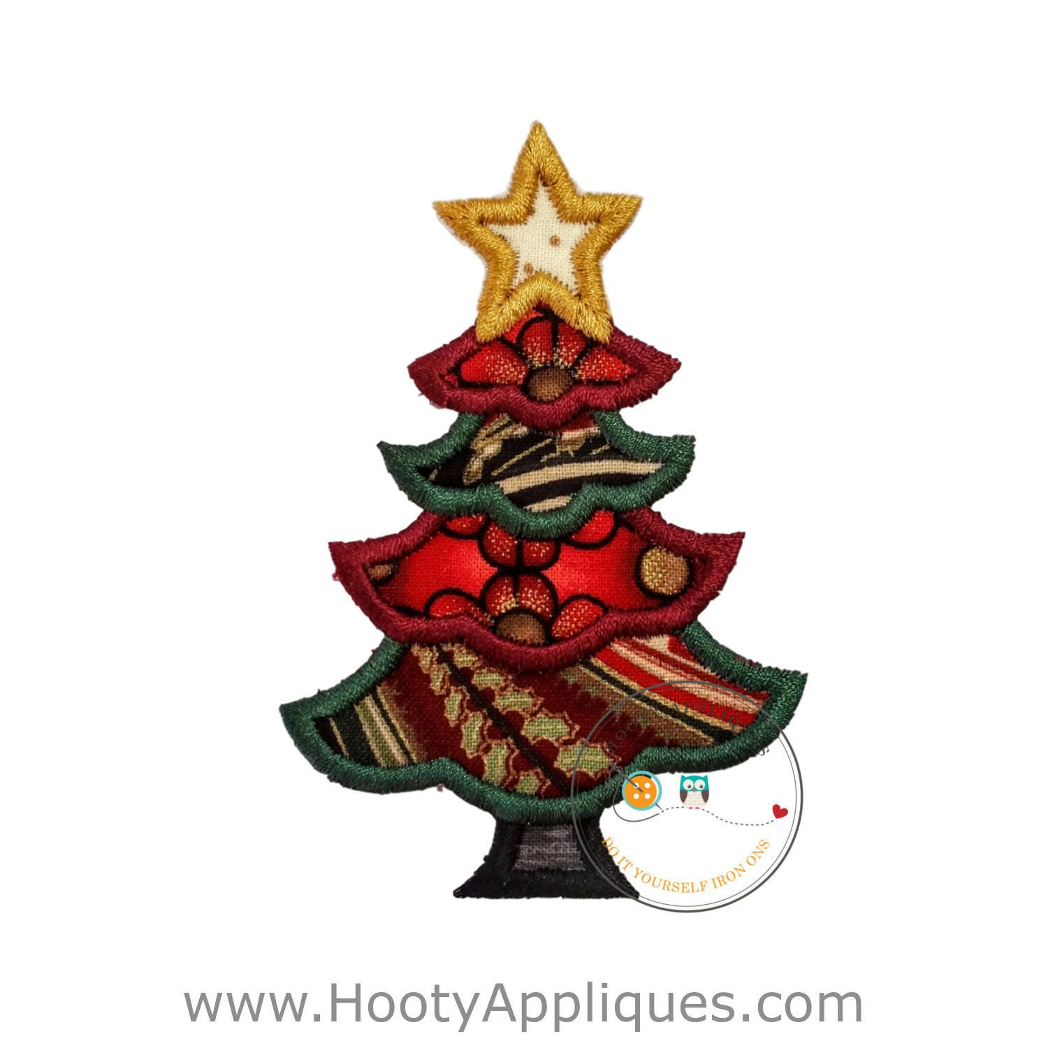 little angelic christmas tree with gold star iron on embroidered fabric applique patch christmas iron on applique ready to ship - Christmas Tree Applique