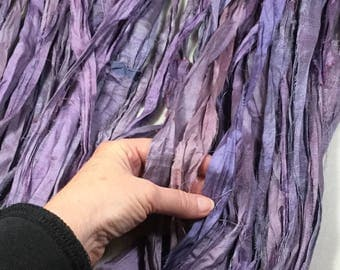 10 yd Recycled Sari Silk Ribbon Purples Tassel Supply Free Combined Shipping Jewelry Fair Trade Felt Knit Weave  Fiber Art Supply